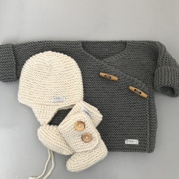 baby mushroom merino double breasted jacket with natural chunky knit hat and boots gift set