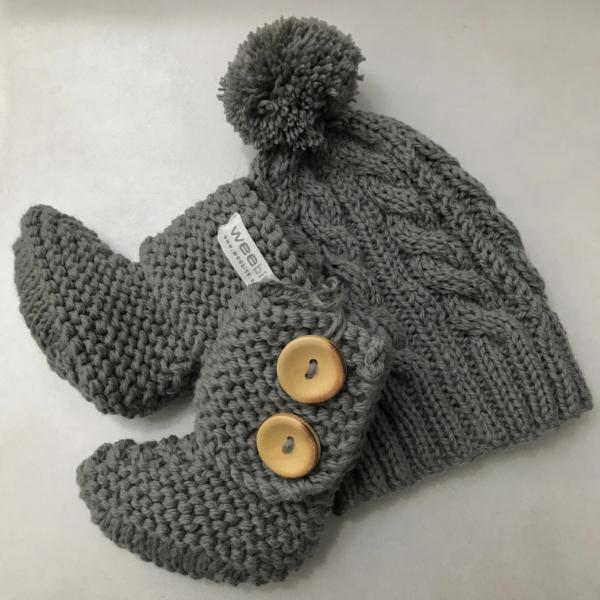 Mushroom cable knit hat and chunky boots gift set