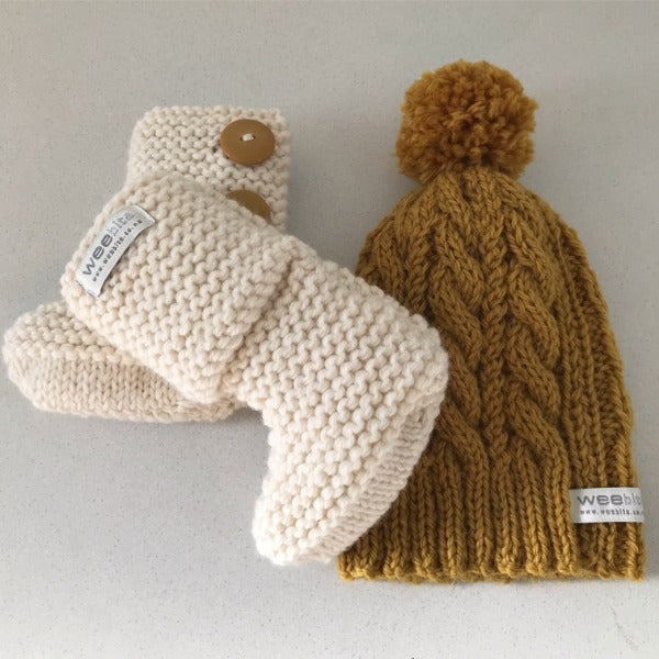 Mustard cable knit hat and natural chunky boots gift set
