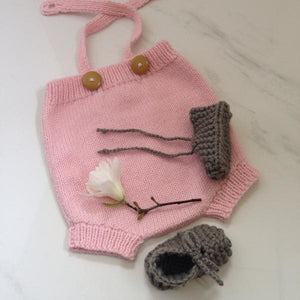 Pink rompers and mushroom chunky knit booties gift set
