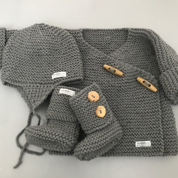 mushroom baby double breasted jacket, chunky knit hat and boots gift set