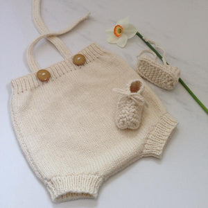 Natural merino rompers and chunky knit booties gift set