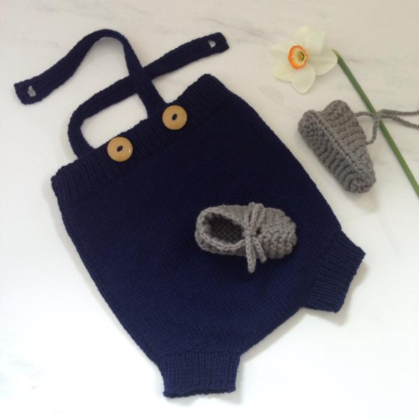 Navy rompers and mushroom chunky booties gift set