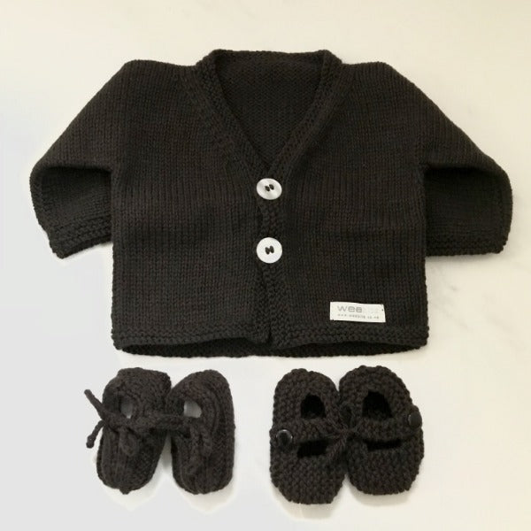 Chocolate baby cardigan, baby loafers and knitted Mary Jane shoes gift sets