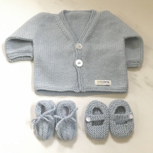 powder blue baby cardigan and baby loafers or MJ shoes gift sets