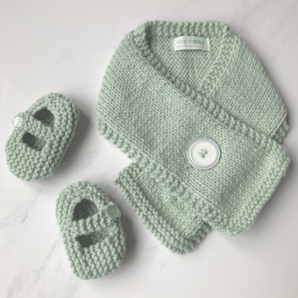Mint knitted merino Button Scarf and Mary Jane Shoes gift set