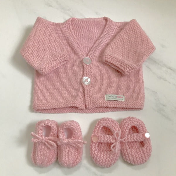 Pink baby cardigan and baby loafers or MJ shoes gift sets
