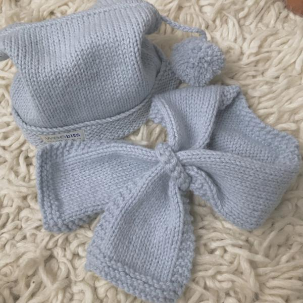 powder blue pompom hat and loop scarf baby scarf and hat set