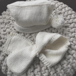 natural pompom hat and loop scarf baby scarf and hat set