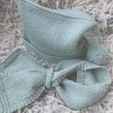 mint pompom hat and loop scarf baby scarf and hat set