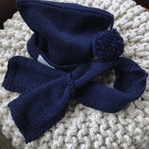 navy pompom hat and loop scarf baby scarf and hat set