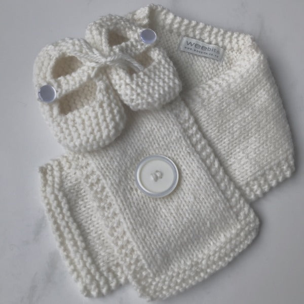 Natural knitted merino Button Scarf and Mary Jane Shoes gift set