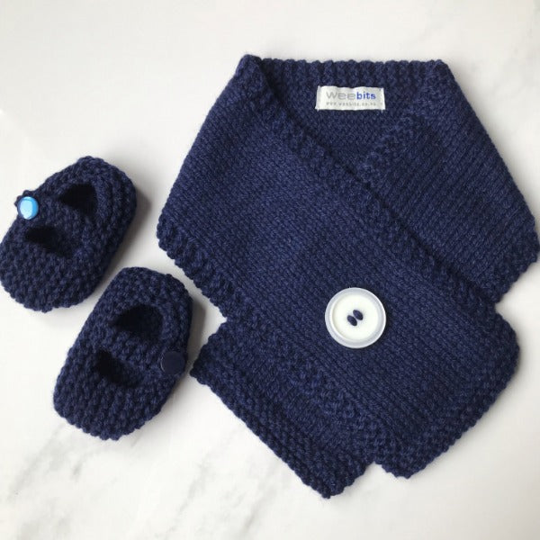 Navy knitted merino Button Scarf and Mary Jane Shoes gift set