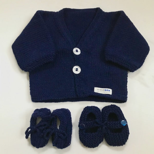 Navy baby cardigan and baby loafers or MJ shoes gift sets