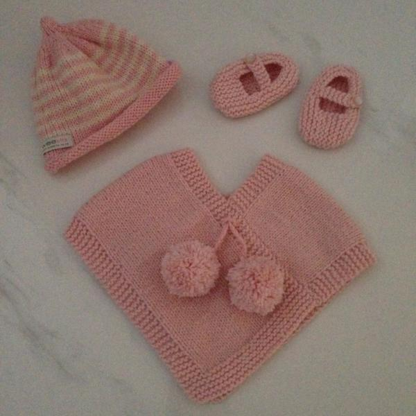 Baby gift set of pink poncho, pink natural stripe beanie and knitted Mary Jane shoes