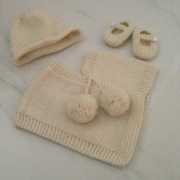 Baby gift set of natural merino poncho, beanie and knitted Mary Jane shoes