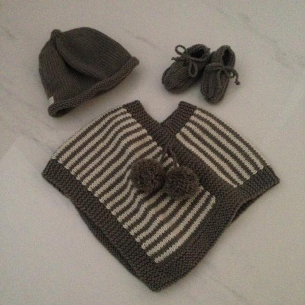 Baby gift set of mushroom natural stripe poncho, mushroom beanie and knitted baby loafers