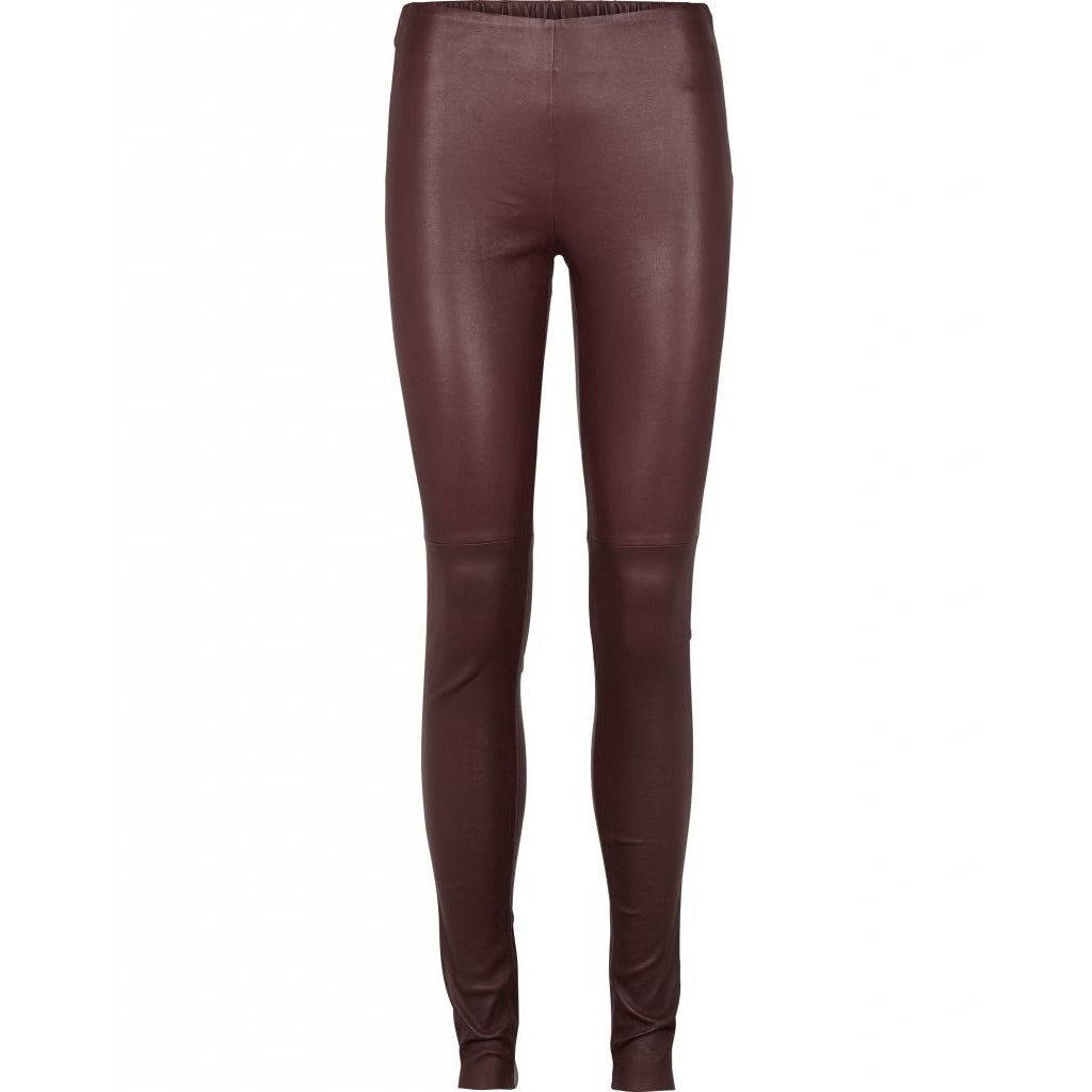 Bruuns Bazaar Women Chrissy leather leggins Leather Bottom Dusty Bourdeaux