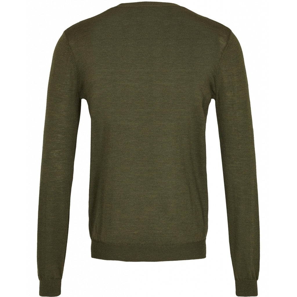 Bruuns Bazaar Men Gerhard o-neck LS Knit Burned Olive