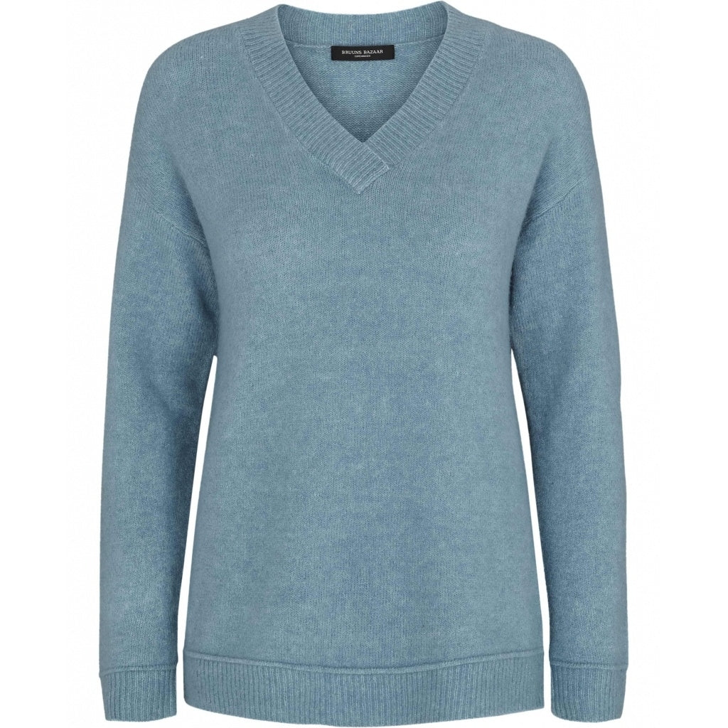 Bruuns Bazaar Women Holly Johanne V-Neck Knit Dawn Blue