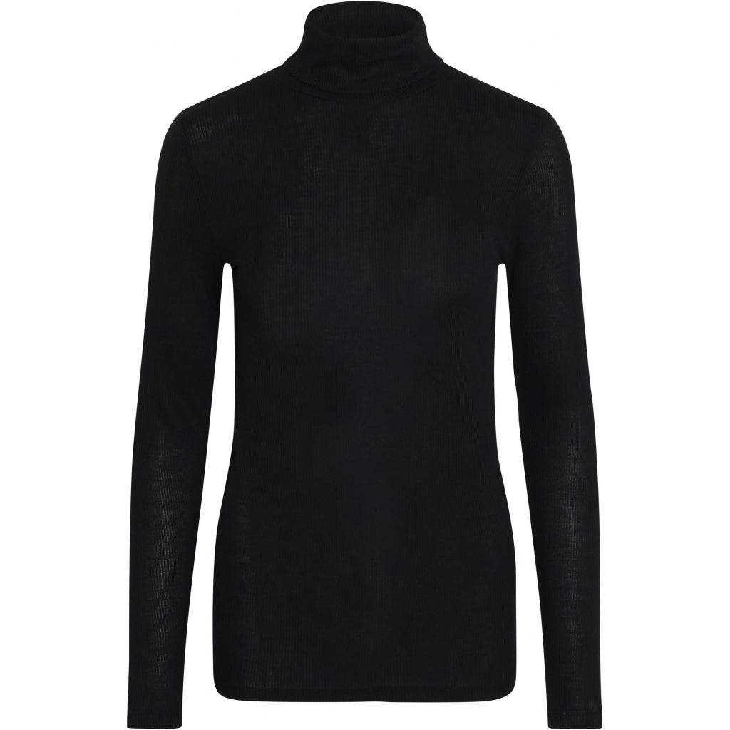 Bruuns Bazaar Women Katka Rib Belle roll neck T-shirts Black