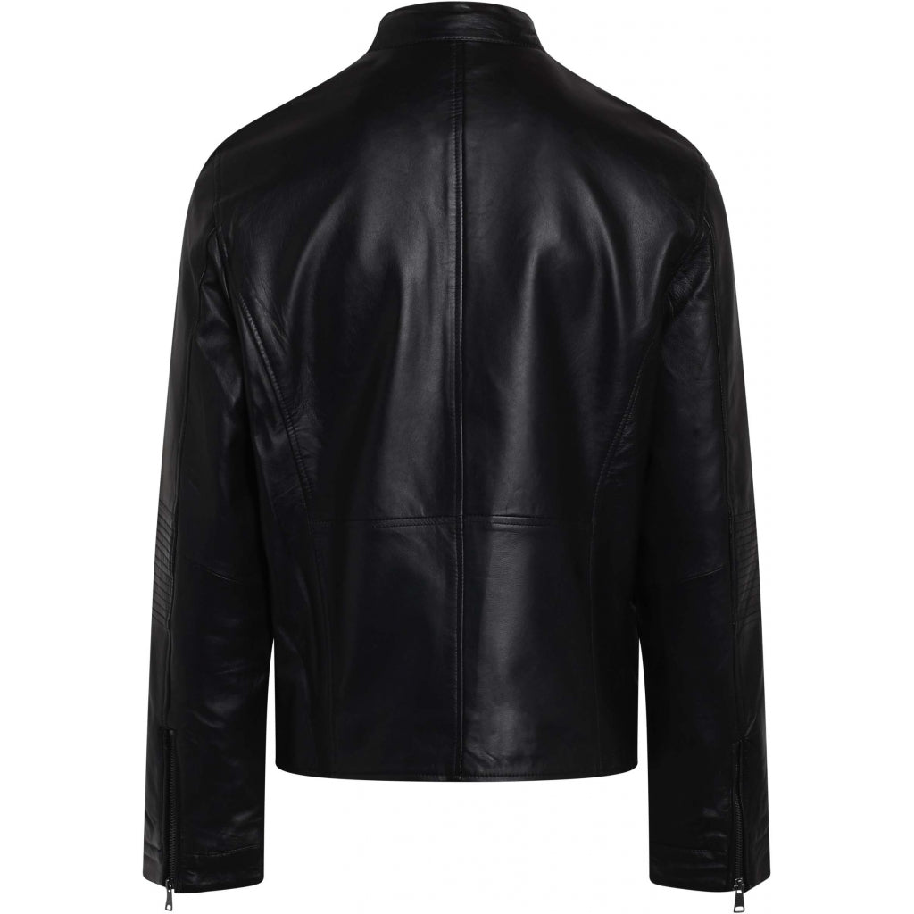 Bruuns Bazaar Men Thomas Leather Jacket Outerwear Black