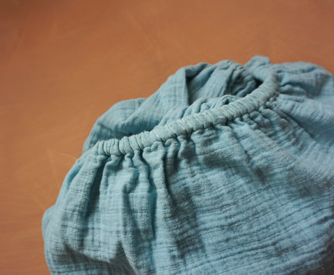 Sky Muslin Cotton Fitted Cot Sheet