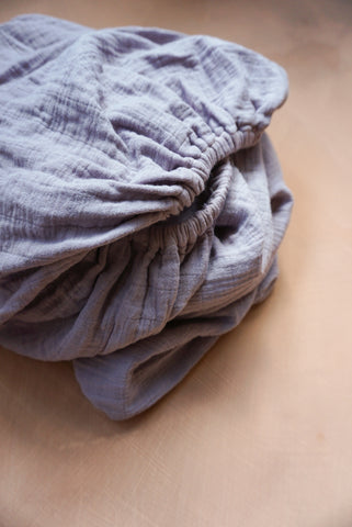 Mauve Muslin Cotton Fitted Cot Sheet