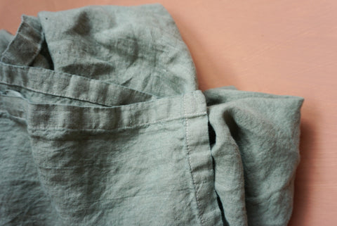Lush Linen Oversized Swaddle in Dusky Teal