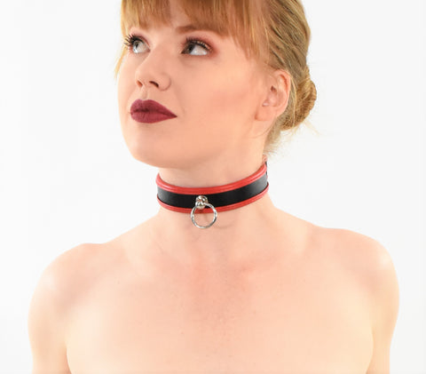 Red/Black Leather Choker