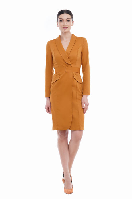 Mustard shawl collar blazer dress