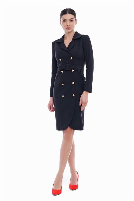 Black gold button blazer dress