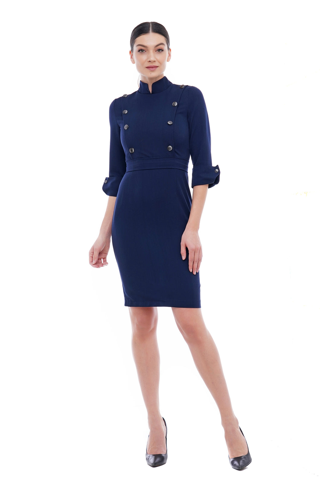 High neck button front dress for women