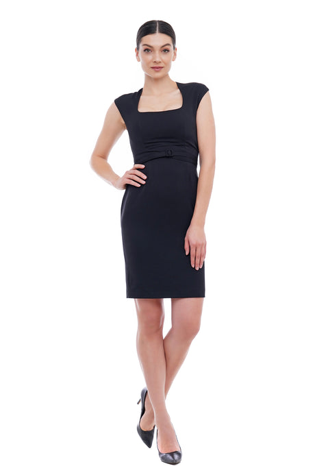 Square neck pencil dress with fabric belt