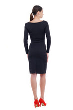 Cowl neck pencil dress