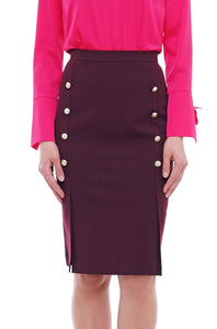 Double slit button front midi skirt