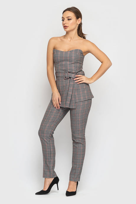 Plaid Off Shoulder Two Piece Set