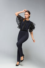 Navy Blue Skinny Jumpsuit With Ruffled Sleeves
