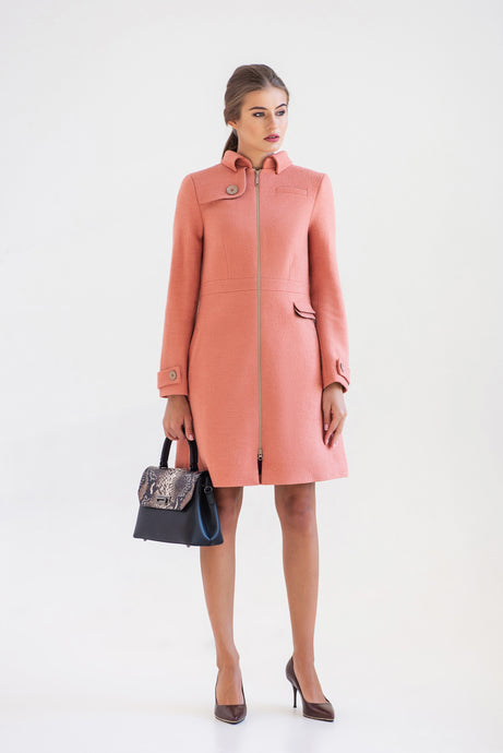 Pink Wool Trench Coat