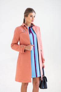 Pink Wool Trench Coat women