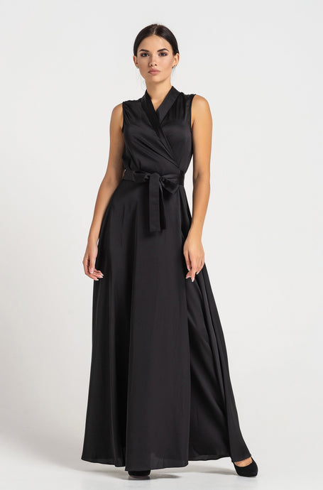 Maxi sleeveless shawl collar wrap maxi dress