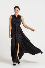 Load image into Gallery viewer, Maxi sleeveless shawl collar wrap maxi dress