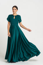 Load image into Gallery viewer, Green long keyhole fit and flare dress