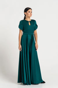Green long keyhole fit and flare dress
