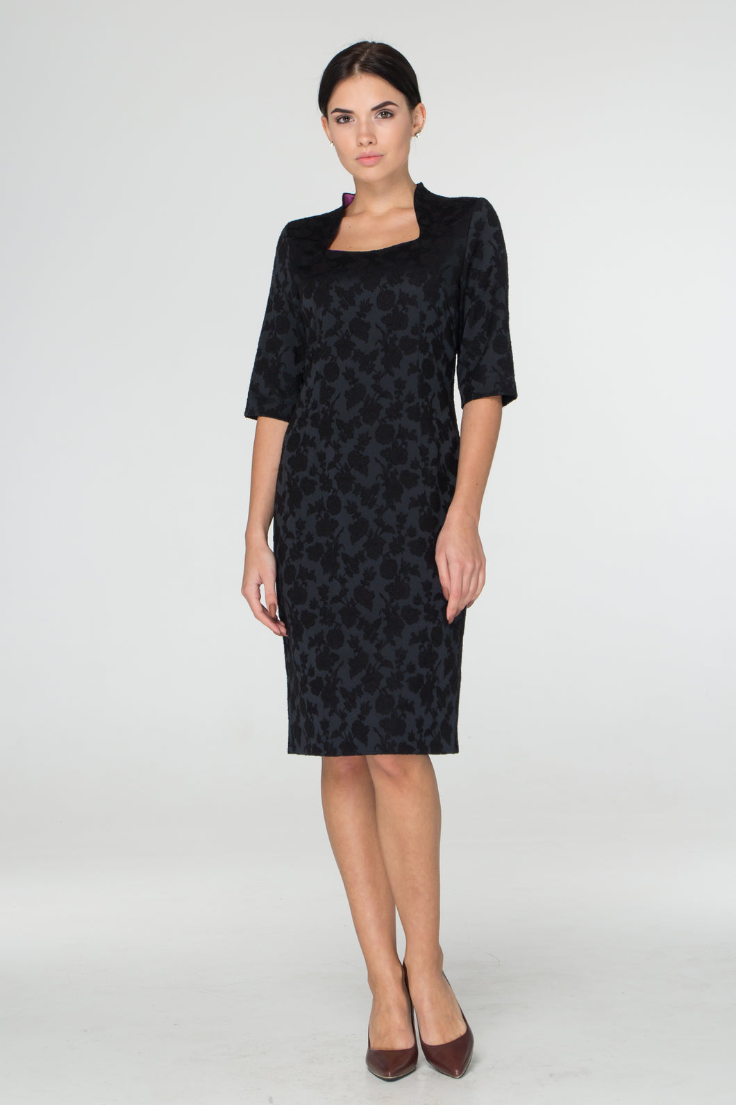 Black jacquard midi dress