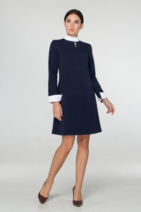 Blue empire waist dress with white collar