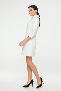 White tweed collared dress