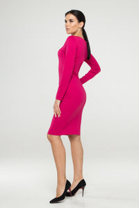 Pink lace-up jersey bodycon dress