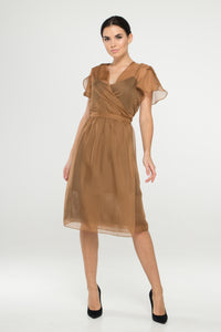 Beige sheer chiffon cover up dress