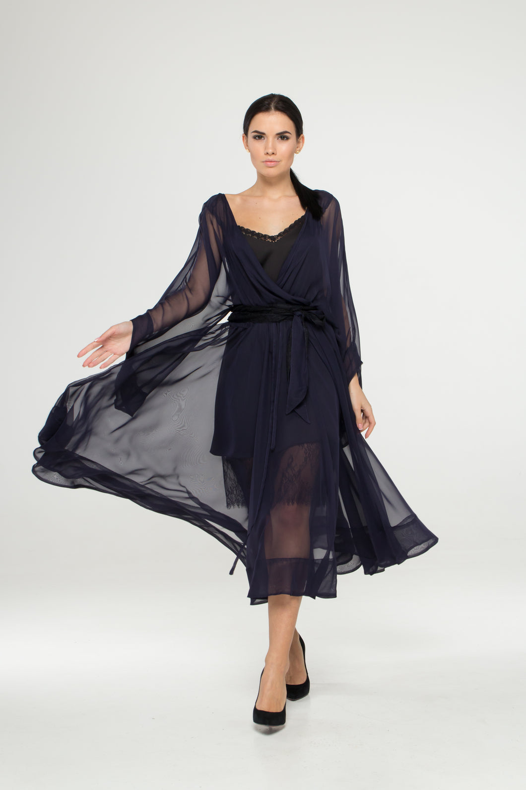 Navy sheer chiffon cover up dress